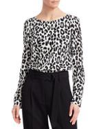 Akris Punto Leopard Print Silk Blouse