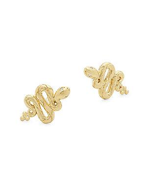 Temple St. Clair 18k Yellow Gold & Diamond Serpent Stud Earrings