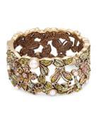 Heidi Daus Faux Pearl And Swarovski Crystal Garden Bangle Bracelet
