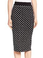 Michael Kors Embroidered Polka Dot Pencil Skirt