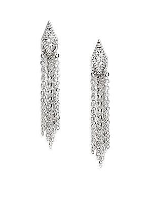 Rebecca Minkoff Pavé Crystal Chain Fringe Drop Earrings