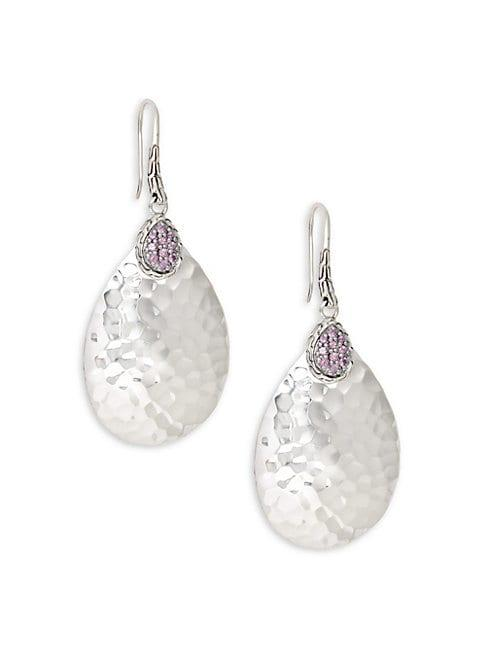 John Hardy Pink Sapphire & Sterling Silver Hammered Pendant Drop Earrings