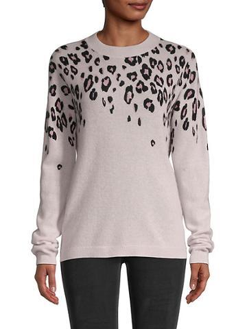 Saks Fifth Avenue Cascading Leopard-print Cashmere Sweater