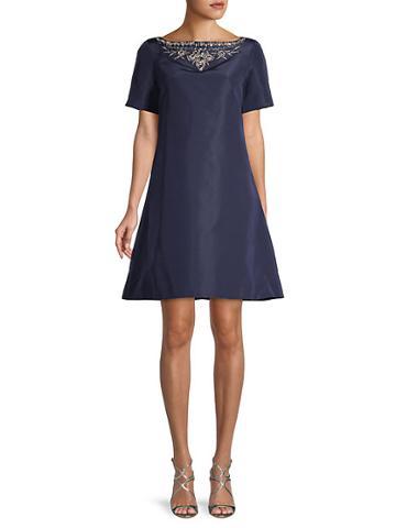 Oscar De La Renta Embellished A-line Silk Dress
