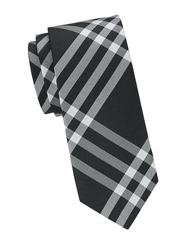 Saks Fifth Avenue Made In Italy Plaid Silk Slim Tie