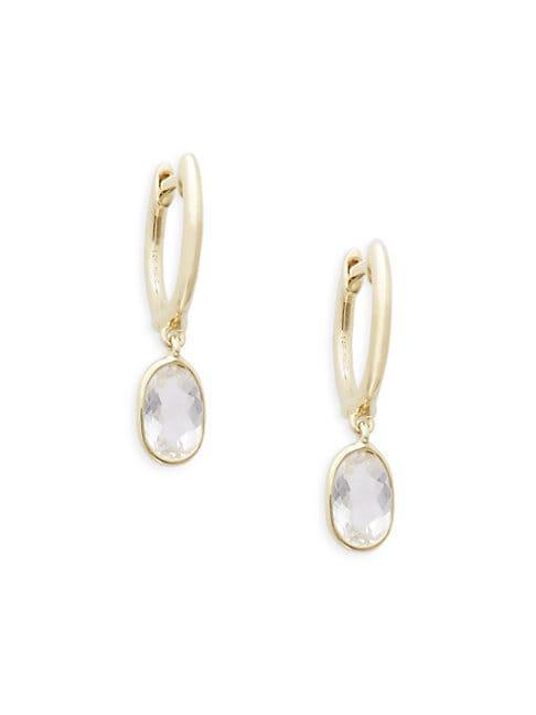 Meira T 14k Yellow Gold & White Topaz Drop Earrings