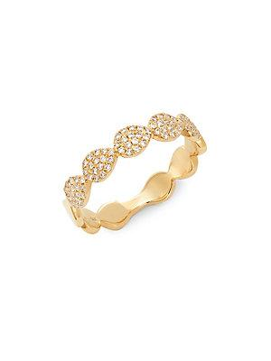 Diana M Jewels Diamond And 14k Yellow Gold Band Ring