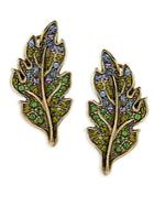 Heidi Daus Leaf Crystal Button Earrings
