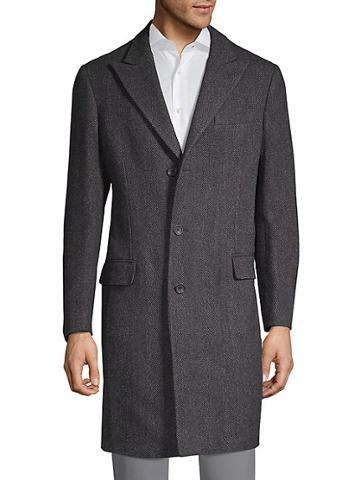 Saks Fifth Avenue Made In Italy Herringbone Premium Wool-blend Coat