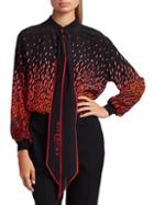 Givenchy Tieneck Printed Silk Blouse