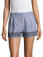Parker Iman Embroidered Striped Shorts