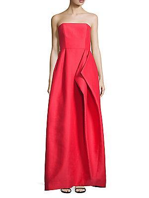 Halston Heritage Strapless Faille Gown