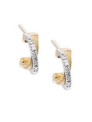Marco Bicego Diamond & 18k Yellow Gold Hoop Earrings