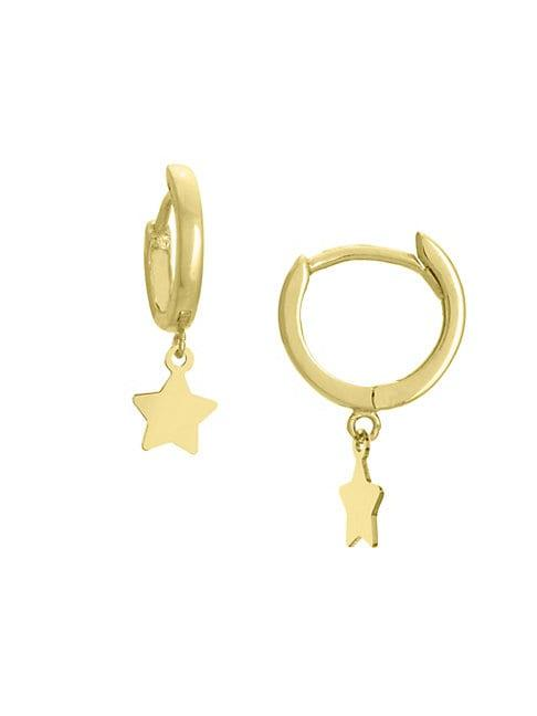 Saks Fifth Avenue 14k Yellow Gold Star Hoop Drop Earrings