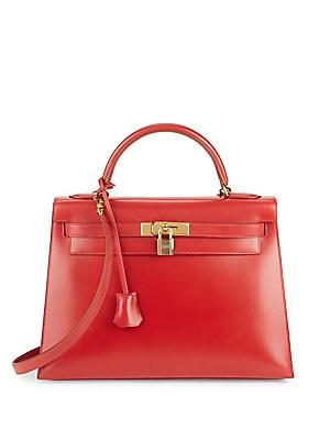 Herm S Vintage Red/gold Hardware Box Kelly 32