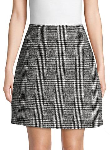 Pure Navy Houndstooth Plaid A-line Skirt