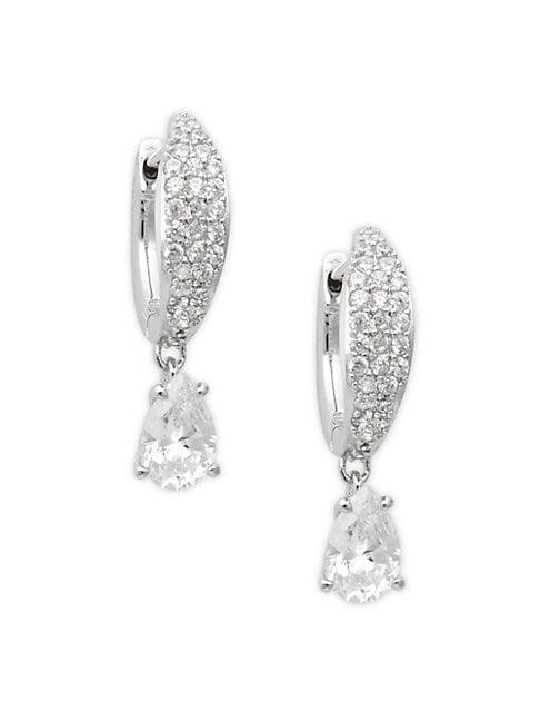 Adriana Orsini Silvertone & Crystal Hoop Drop Earrings