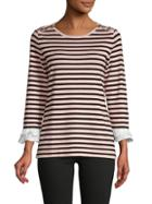 Karl Lagerfeld Paris Striped Roundneck Top