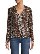 L'agence Kyla Leopard-print Silk Blouse