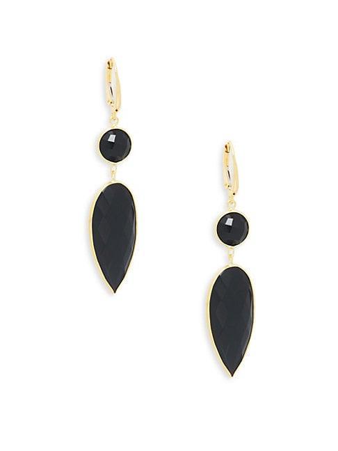 Saks Fifth Avenue 14k Gold & Black Onyx Drop Earrings