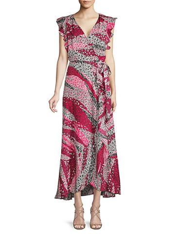 Ava & Aiden Ruffled Midi Wrap Dress