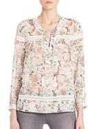 The Kooples Botanic Chiffon Lace-up Top