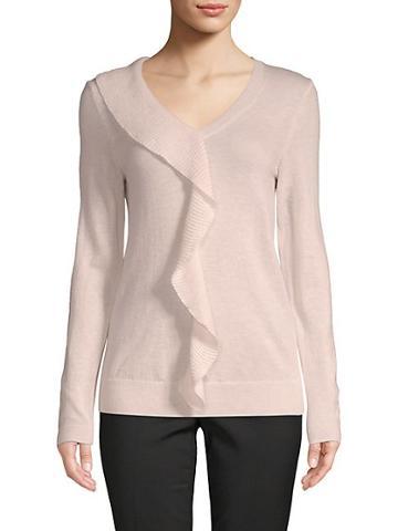 Saks Fifth Avenue Black Ruffled V-neck Sweater