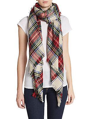 Saks Fifth Avenue Plaid Blanket Scarf