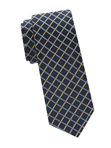Saks Fifth Avenue Made In Italy Two-tone Windowpane Check Silk Tie