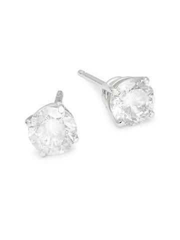 Diana M Jewels 14k White Gold & Diamond Stud Earrings