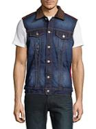 Mostly Heard Rarely Seen Distressed Denim Vest