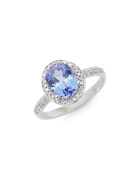 Effy 14k White Gold Tanzanite & Diamond Oval Ring