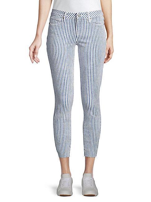 Paige Jeans Skinny-fit Crop Stripe Jeans