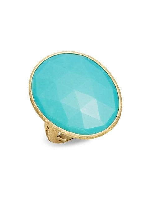 Marco Bicego Resort 18k Gold Large Oval Turquoise Ring