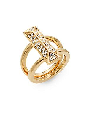 Rebecca Minkoff Jewel Box Pavé & 12k Goldplated Two-row Ring