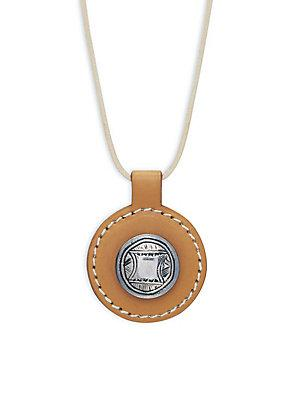 Herm S Vintage Silver And Leather Circle Necklace