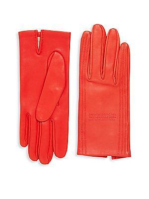 Herm S Vintage Red Lambskin Gloves