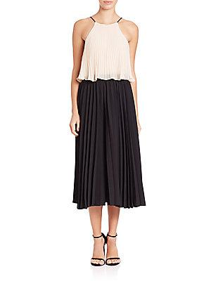 Abs Pleated Colorblock Dress