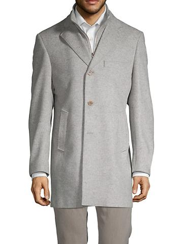 Saks Fifth Avenue Made In Italy Classic Id Wool Topcoat With Attached Bib