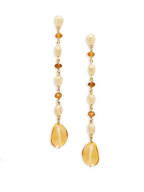 Marco Bicego 18k Yellow Gold Topaz & Green Tourmaline Drop Earrings
