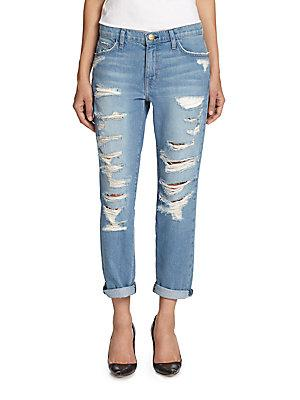 Current/elliott The Fling Tattered Skinny Jeans