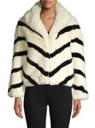 Love Token Chevron Faux Fur Jacket