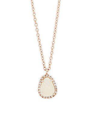 Meira T Diamond & Druzy 14k Rose Gold Pendant Necklace
