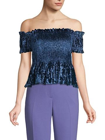 Renvy Off-the-shoulder Velvet Crop Top
