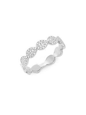 Diana M Jewels Diamond And 14k White Gold Band Ring
