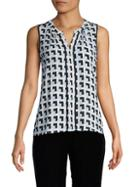 Calvin Klein Collection Printed Splitneck Sleeveless Top