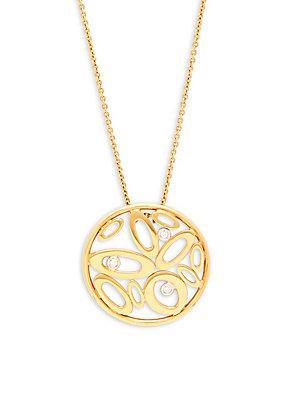 Roberto Coin 18k Yellow Gold & Diamond Shine Circle Pendant Necklace