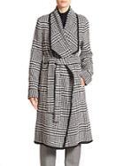 Escada Houndstooth Belted Wool Coat