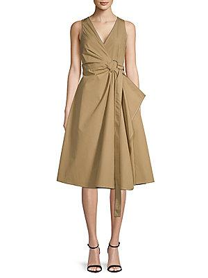 Derek Lam 10 Crosby Pleated Cotton Wrap Dress
