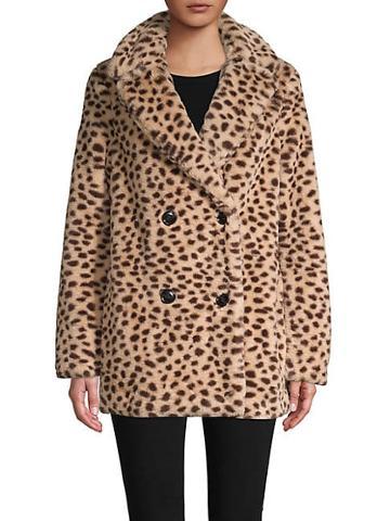 Saks Fifth Avenue Leopard-print Faux Fur Coat